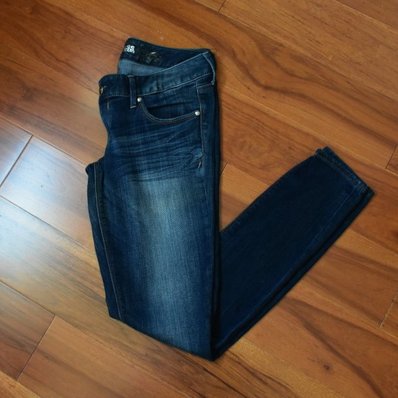 EXPRESS SKINNY DISTRESSED LOW-RIS JEANS 6